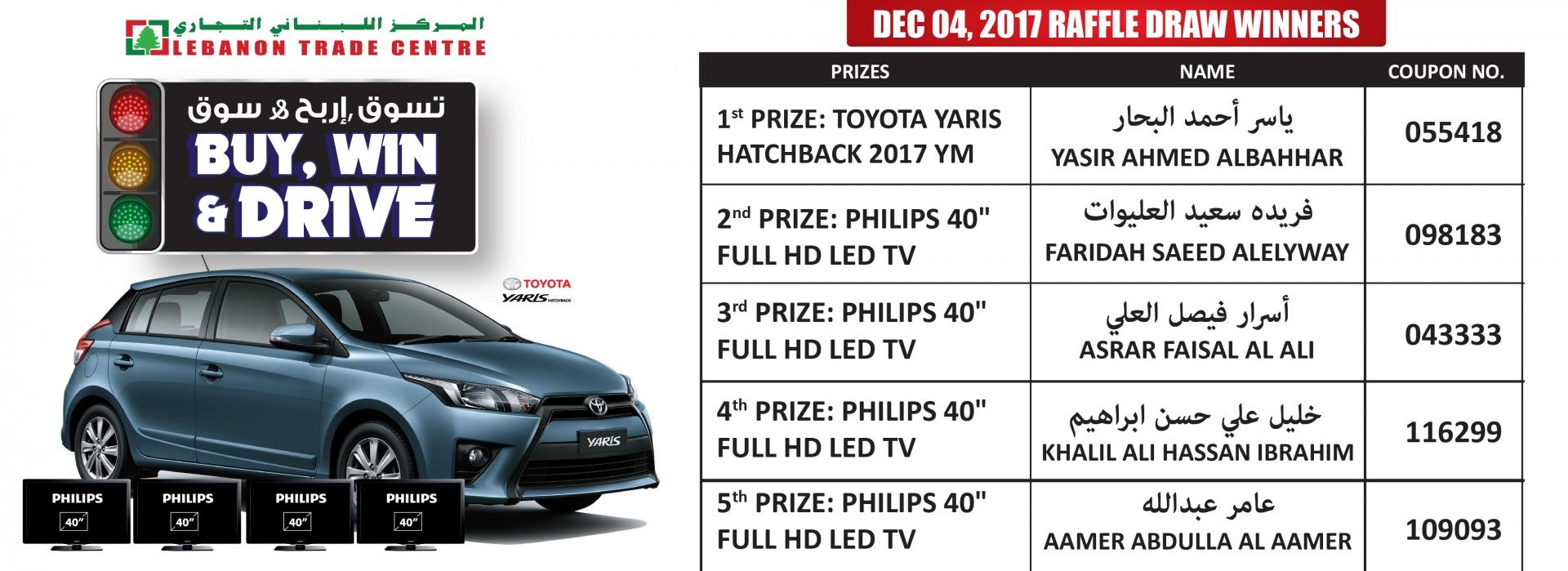 Dec 04, 2017 Raffle Draw Winners